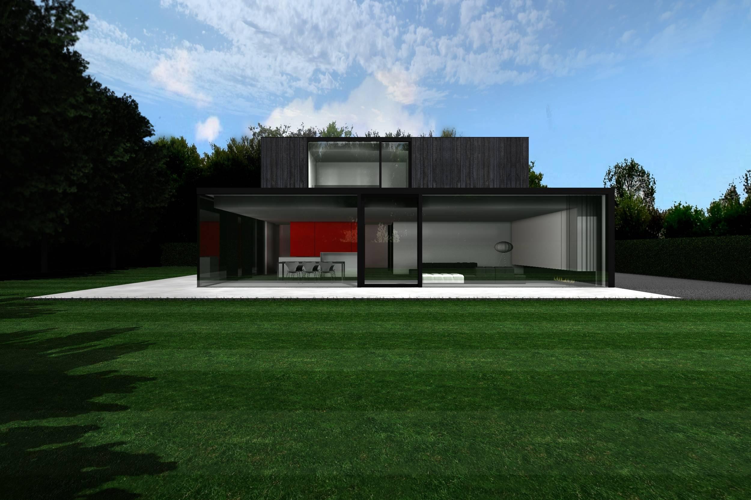 Strakke moderne tijdloze woning verbrand hout humbeek for Moderne strakke huizen